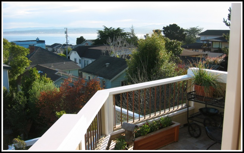 Second story tile deck overlooking Monterey Bay