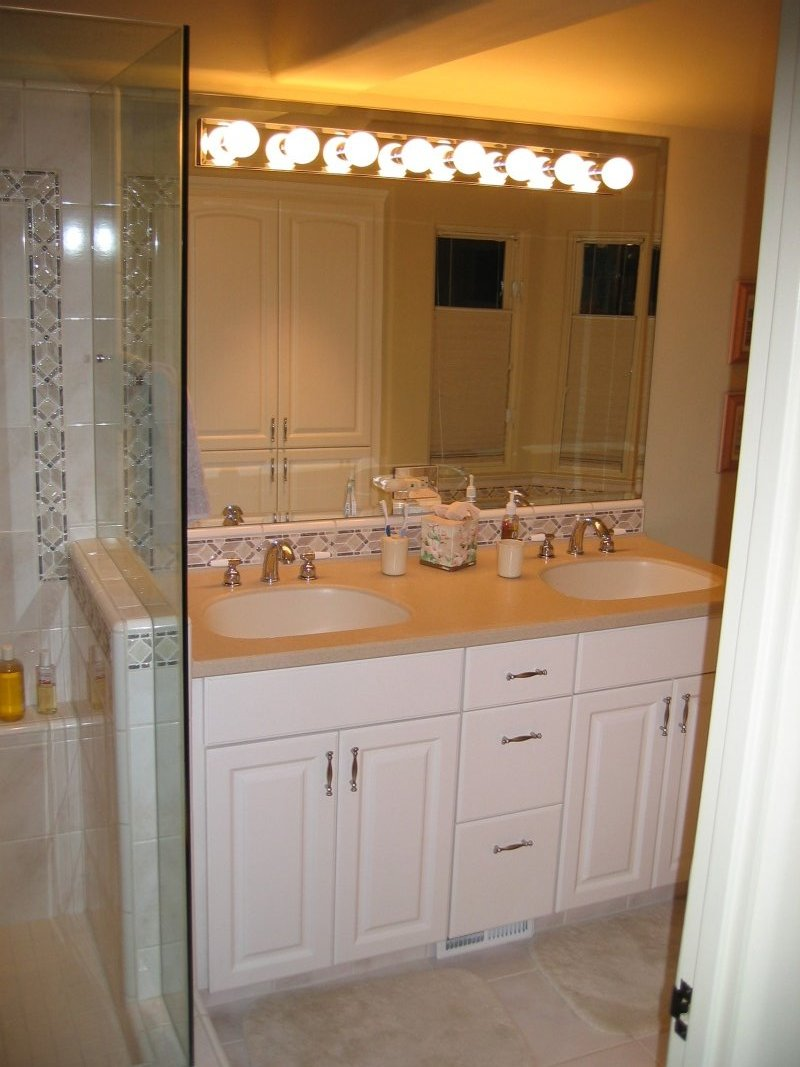New custom tile shower and vanity in the bathroom addition