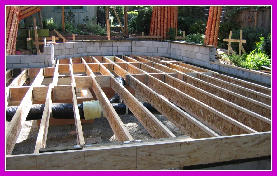 Remodel and addition floor frame, heating in