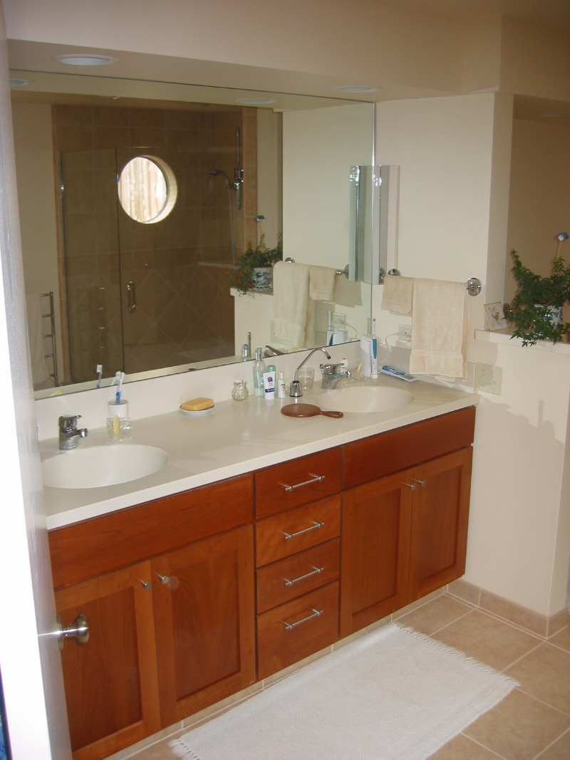 Custom bath vanity, Corian counter top