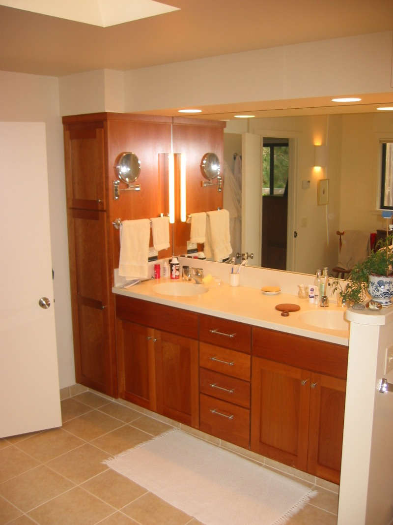Custom bath vanity, Corian counter top