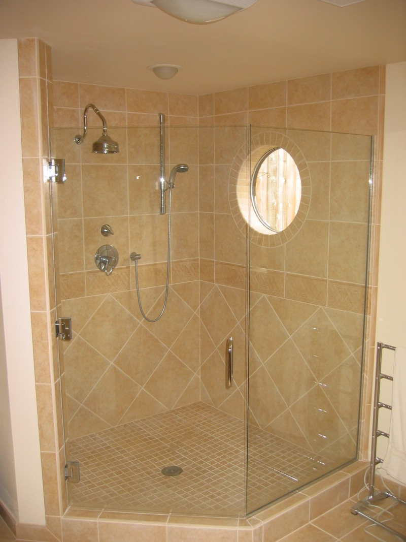 Custom tile shower, new round window