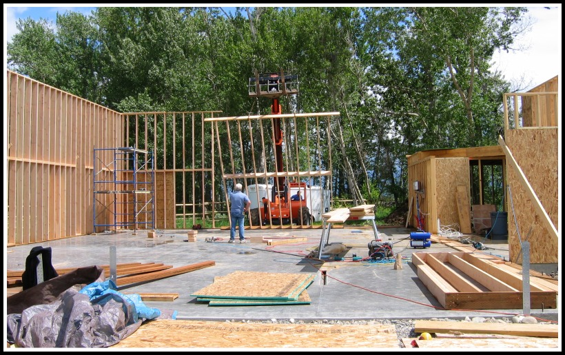 Framing and standing the 16\' tall 2x8 garage walls