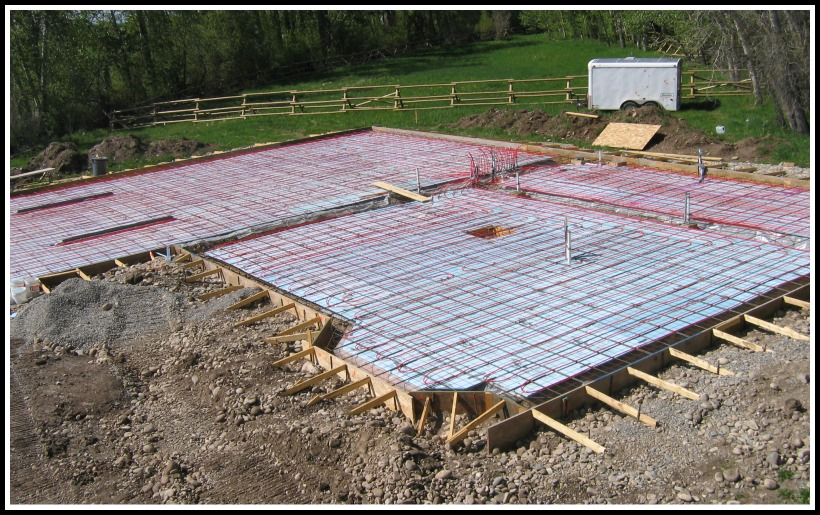 slab  plumbed for hydronic heating system