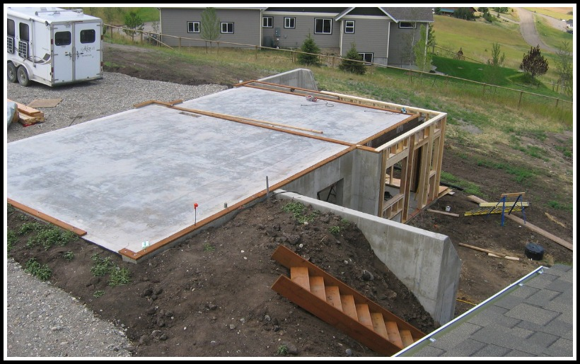 Engineered concrete garage parking slab spans a basement for Slab on grade ontario