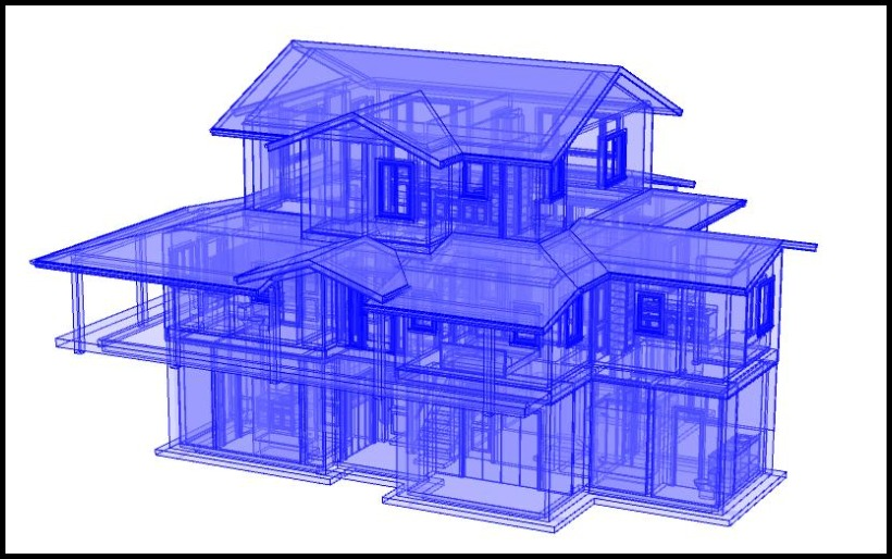 3D Glass house design perspective